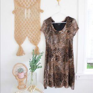 90s animal print shift dress